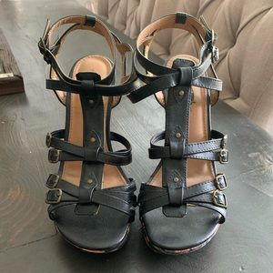 Strapy Wedge Floral Heels Size 10